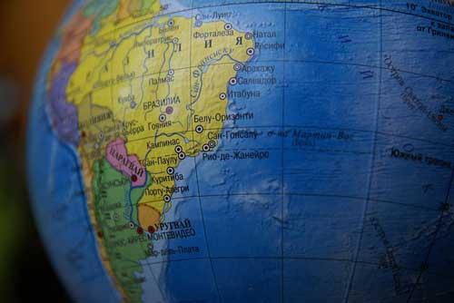 南米 地球儀 地図